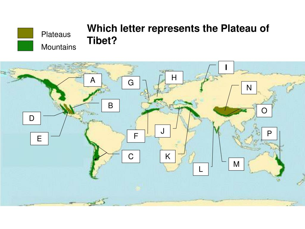 Which letter represents the Plateau of Tibet?
