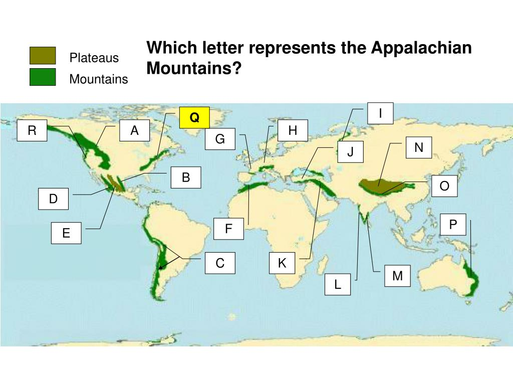 Which letter represents the Appalachian Mountains?