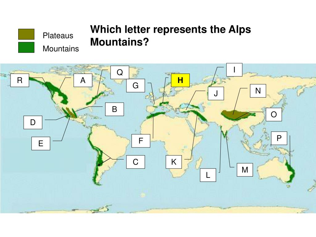 Which letter represents the Alps Mountains?