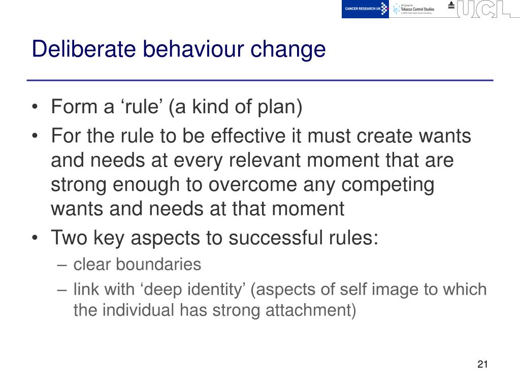 Deliberate behaviour change