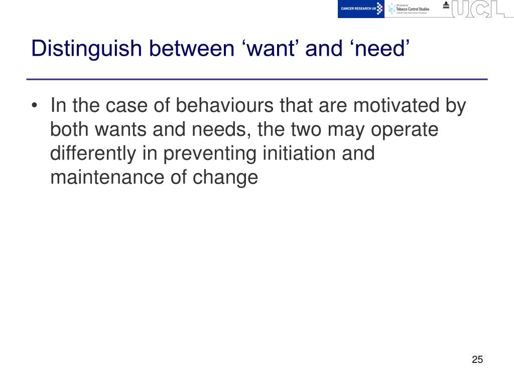 Distinguish between 'want' and 'need'