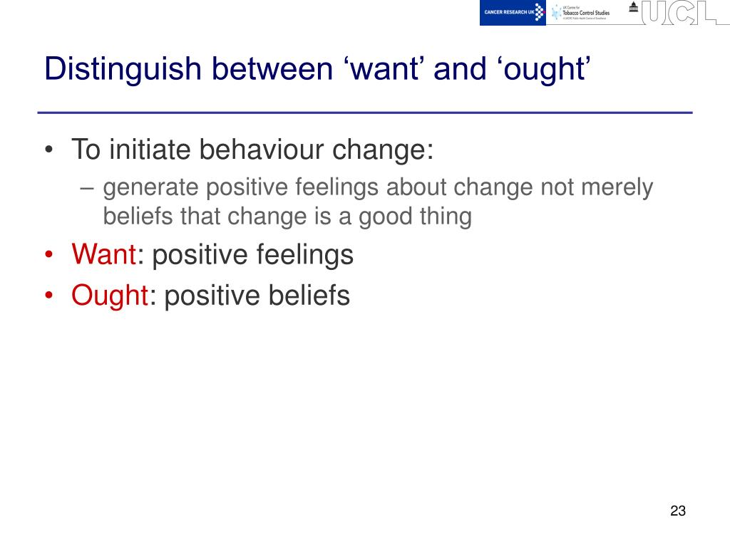 Distinguish between 'want' and 'ought'