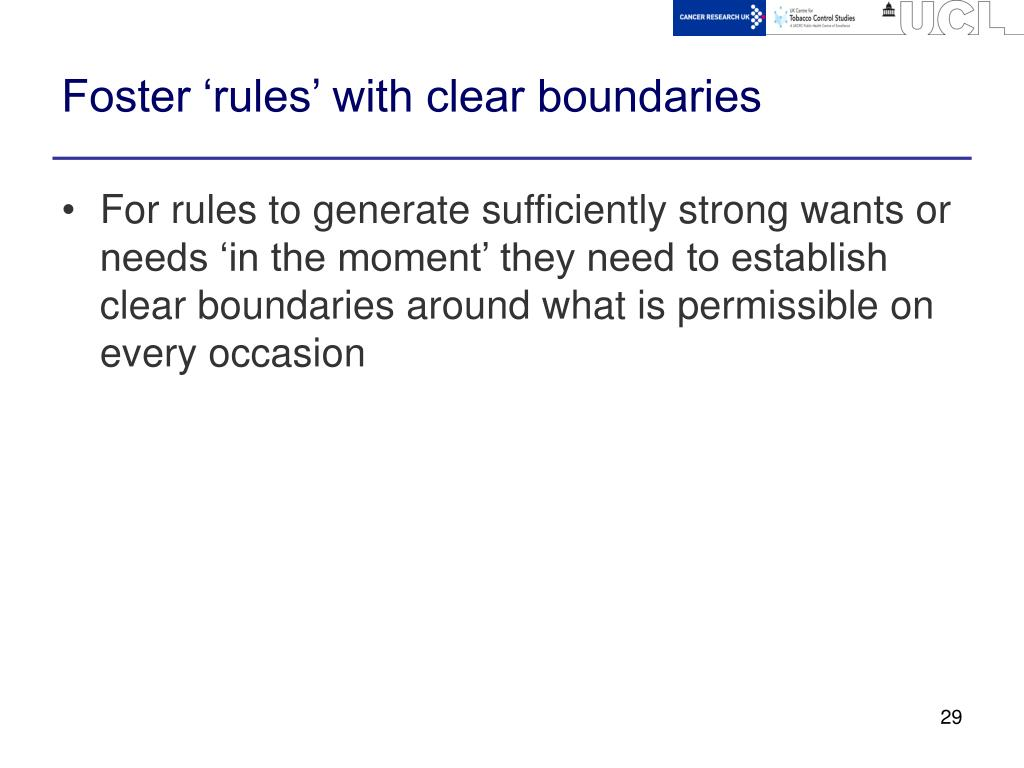 Foster 'rules' with clear boundaries