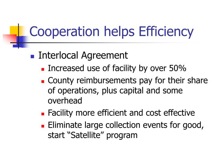 Cooperation helps Efficiency
