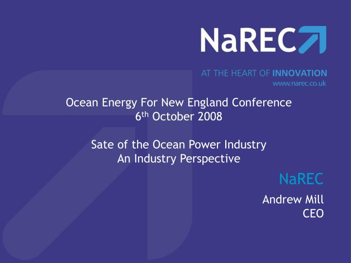 Ocean Energy For New England Conference