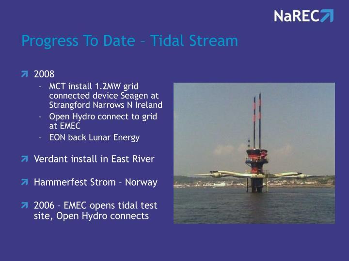 Progress To Date – Tidal Stream