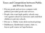 taxes and competition between public and private sectors