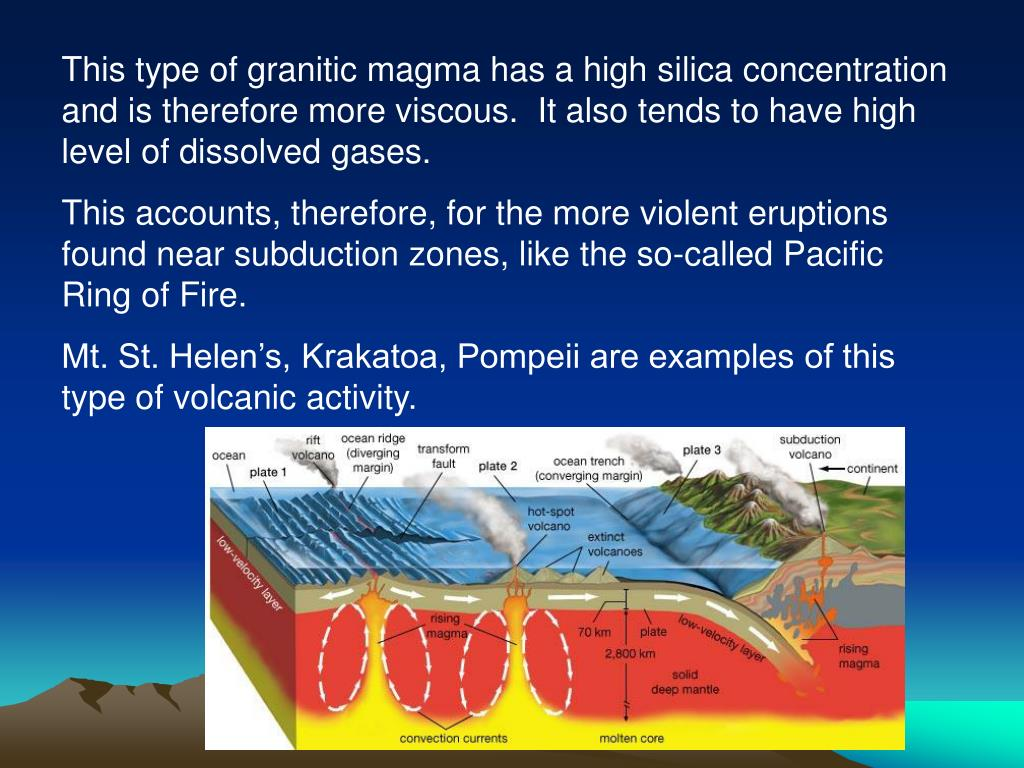 This type of granitic magma has a high silica concentration and is therefore more viscous.  It also tends to have high level of dissolved gases.