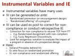 instrumental variables and ie