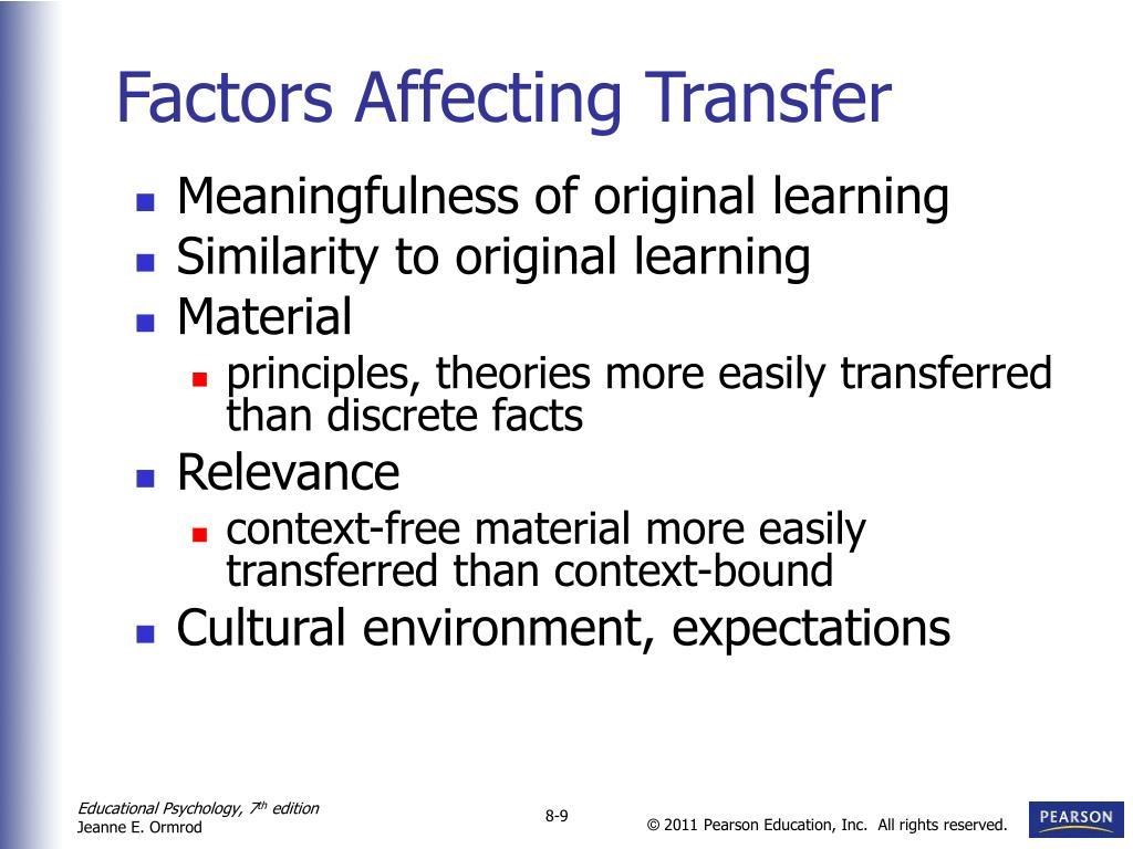 Factors Affecting Transfer