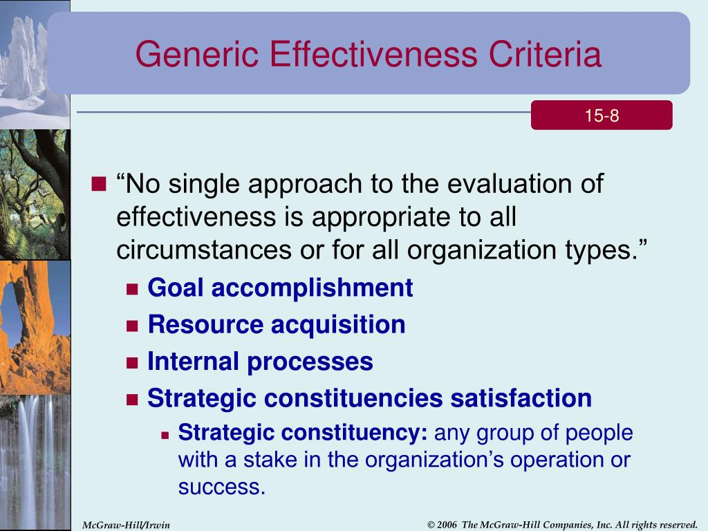 Generic Effectiveness Criteria