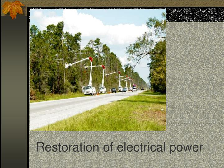 Restoration of electrical power