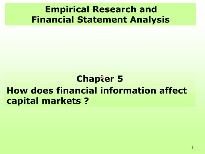 empirical research and financial statement analysis n.