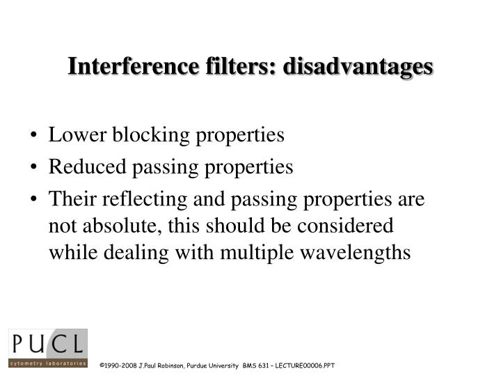 Interference filters: disadvantages