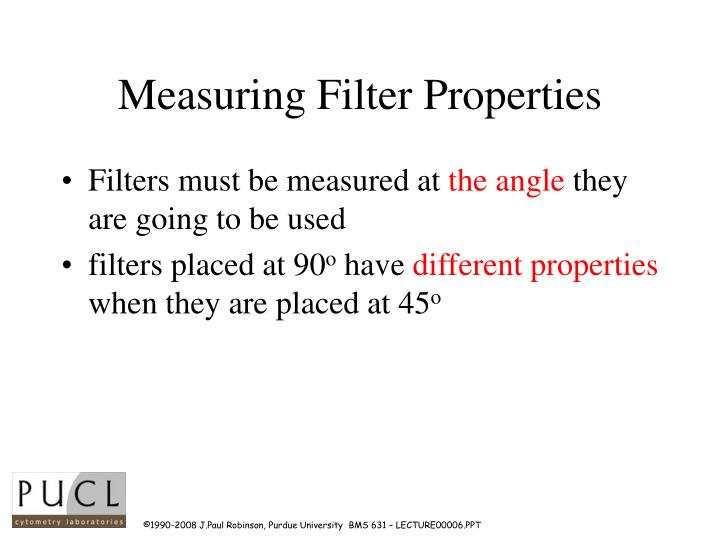 Measuring Filter Properties