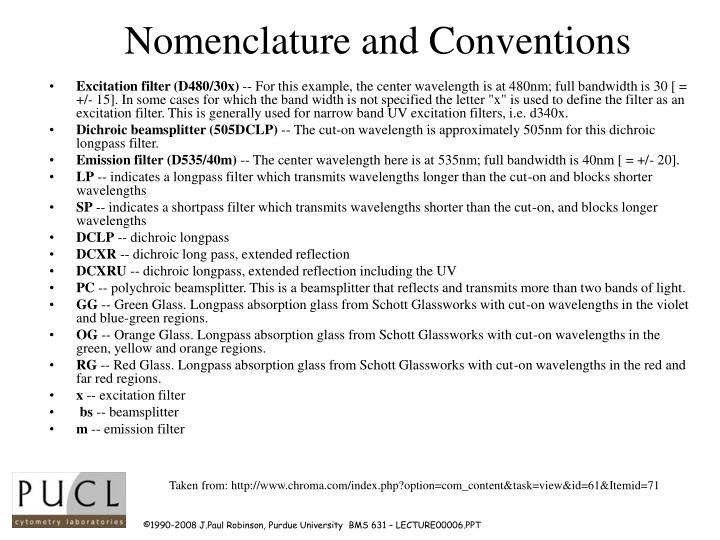 Nomenclature and Conventions