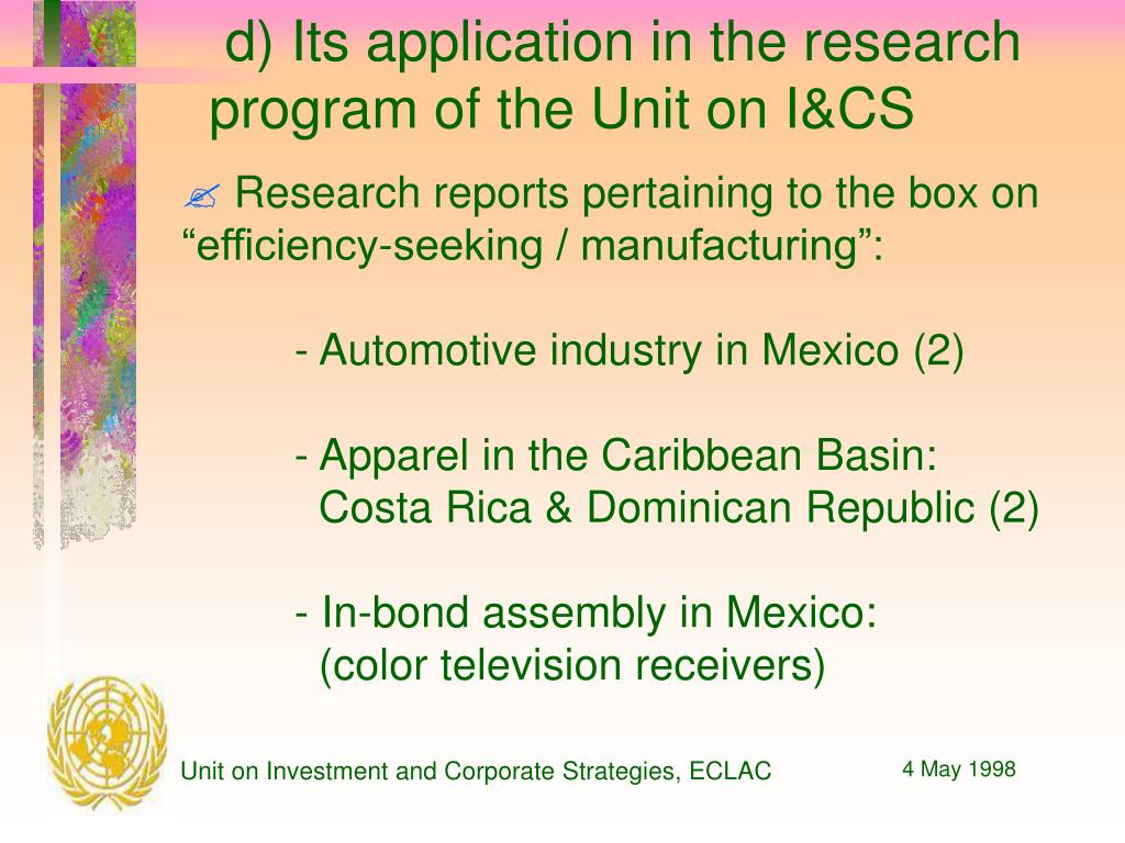 d) Its application in the research program of the Unit on I&CS
