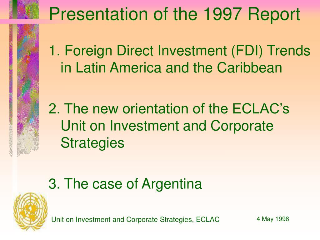 Presentation of the 1997 Report