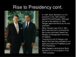 rise to presidency cont