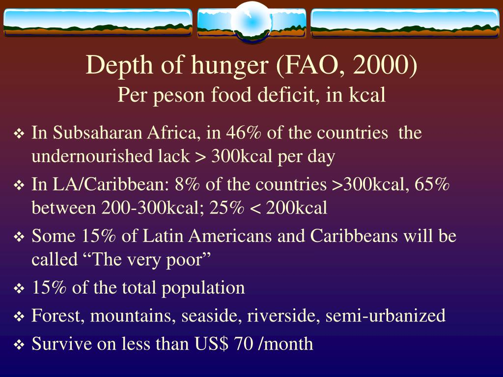 Depth of hunger (FAO, 2000)