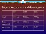 population poverty and development
