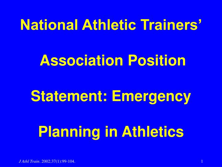 national athletic trainers association position statement emergency planning in athletics n.