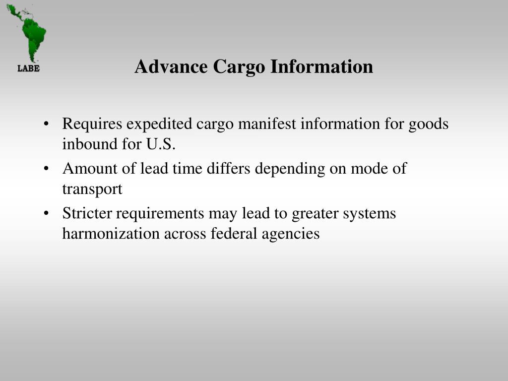 Advance Cargo Information