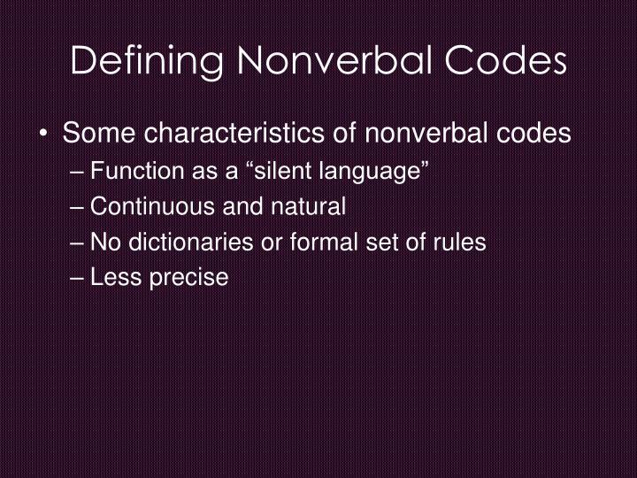 Defining nonverbal codes
