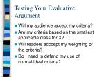 testing your evaluative argument
