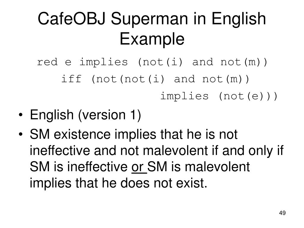 CafeOBJ Superman in English Example