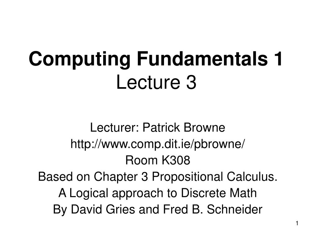 computing fundamentals 1 lecture 3 l.