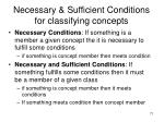 necessary sufficient conditions for classifying concepts