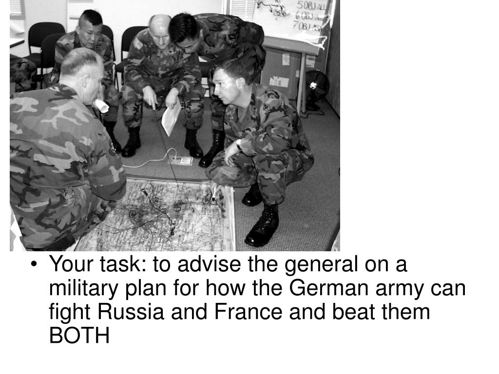 Your task: to advise the general on a military plan for how the German army can fight Russia and France and beat them BOTH