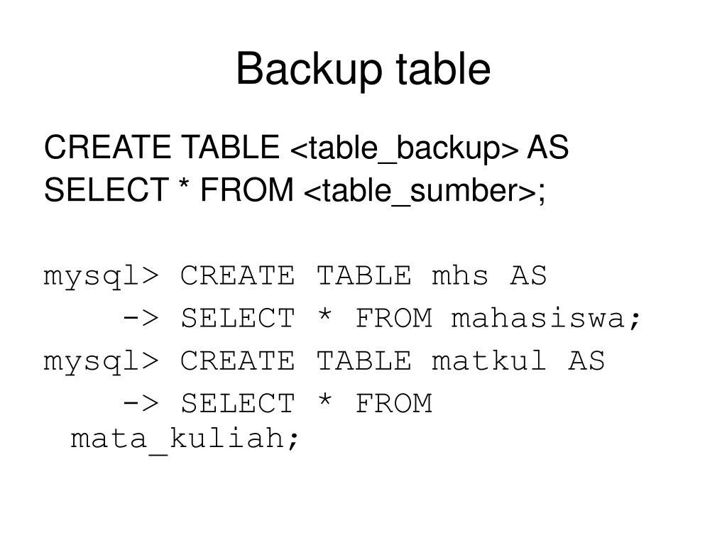 Backup table