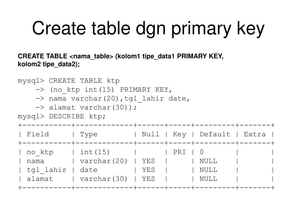 Create table dgn primary key