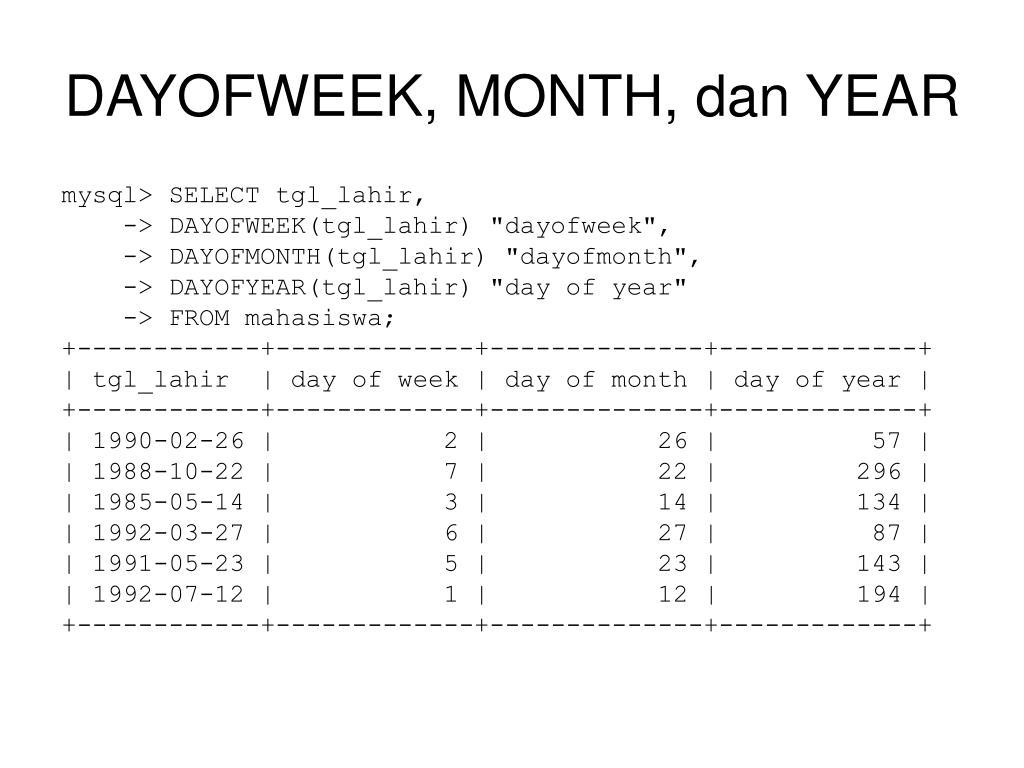 DAYOFWEEK, MONTH, dan YEAR