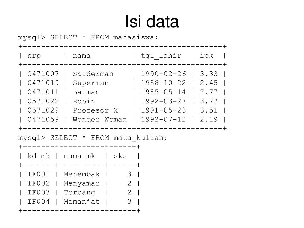 Isi data