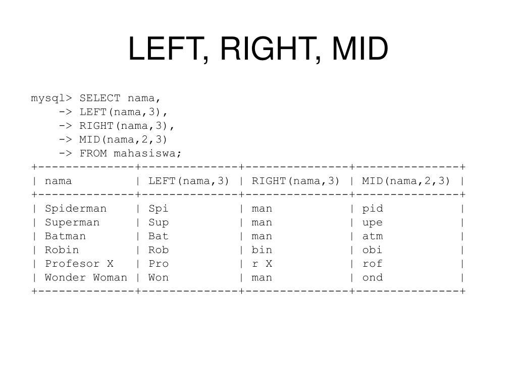 LEFT, RIGHT, MID