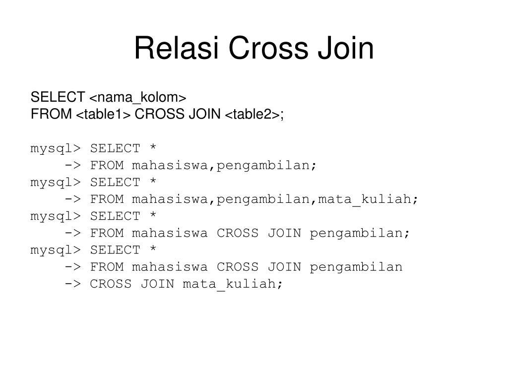Relasi Cross Join