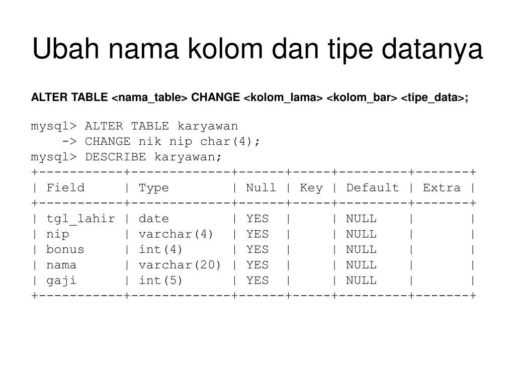 Ubah nama kolom dan tipe datanya