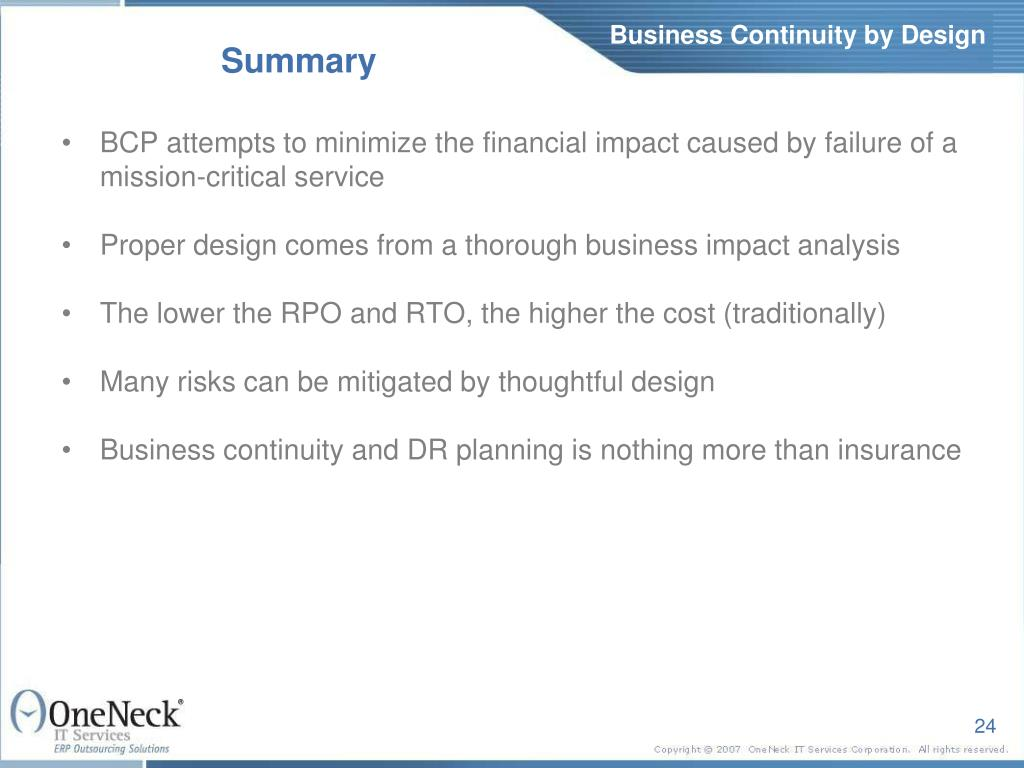 Business Continuity by Design