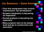 our business some anomalies