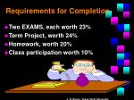 requirements for completion