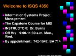 welcome to isqs 4350