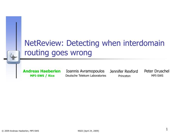 Netreview detecting when interdomain routing goes wrong