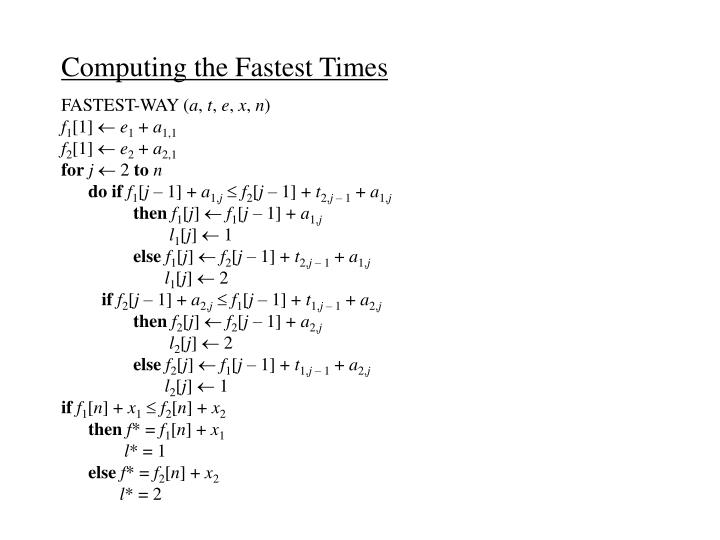 Computing the Fastest Times