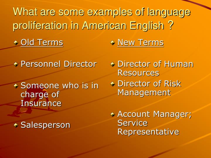 What are some examples of language proliferation in american english