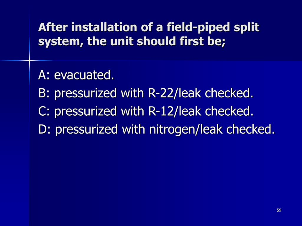 After installation of a field-piped split system, the unit should first be;