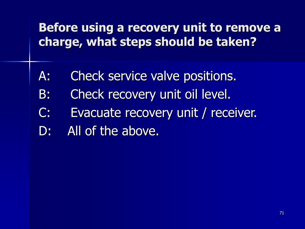 Before using a recovery unit to remove a charge, what steps should be taken?