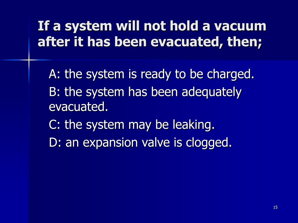 If a system will not hold a vacuum after it has been evacuated, then;